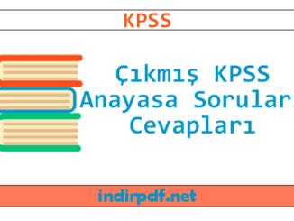 Çıkmış KPSS Anayasa Soruları ve Cevapları