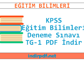 KPSS Eğitim Bilimleri Deneme Sınavı TG-1 PDF İndir