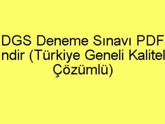 DGS Deneme Sınavı PDF İndir (Türkiye Geneli Kaliteli Çözümlü)