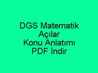 DGS Matematik Açılar Konu Anlatımı
