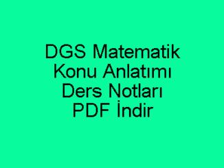 DGS Matematik Konu Anlatımı ve Ders Notları