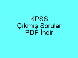 KPSS Çıkmış Sorular PDF İndir