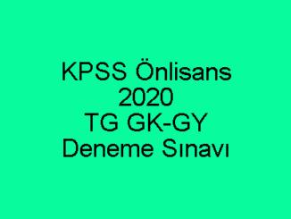 KPSS Önlisans 2020 TG GK-GY Deneme Sınavı