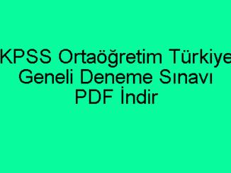 KPSS Ortaöğretim Türkiye Geneli Deneme Sınavı PDF İndir