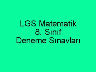 LGS Matematik 8. Sınıf Deneme Sınavları