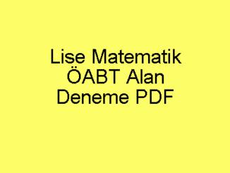 Lise Matematik ÖABT Alan Deneme PDF
