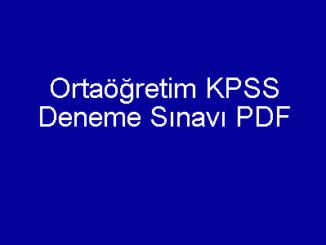 Ortaöğretim KPSS Deneme Sınavı PDF