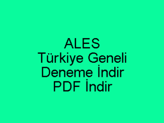 ALES Türkiye Geneli Deneme İndir