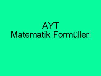 AYT Matematik Formülleri