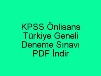 KPSS Önlisans Türkiye Geneli Deneme PDF İndir