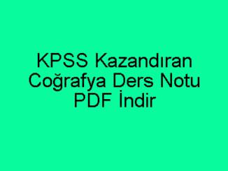 KPSS Kazandıran Coğrafya Ders Notu