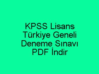 KPSS Lisans Deneme Sınavı PDF İndir