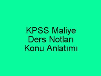 KPSS Maliye Ders Notları ve Konu Anlatımı
