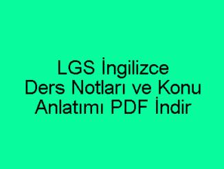 LGS İngilizce Ders Notları ve Konu Anlatımı PDF İndir