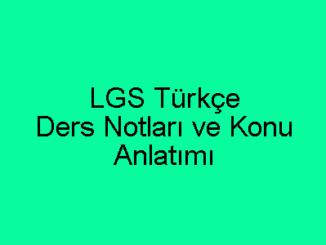 LGS Türkçe Ders Notları ve Konu Anlatımı