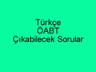 Türkçe ÖABT Çıkabilecek Sorular