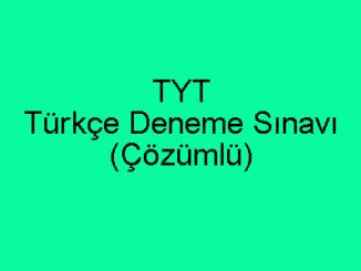 TYT Türkçe Deneme Sınavı Çözümlü PDF İndir