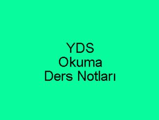 YDS Okuma Ders Notları