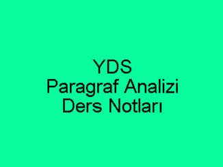 YDS Paragraf Analizi Ders Notları