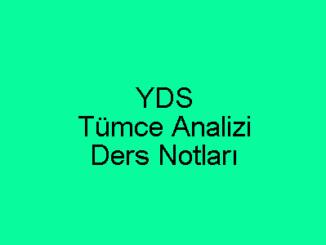 YDS Tümce Analizi Ders Notları