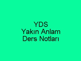 YDS Yakın Anlam Ders Notları