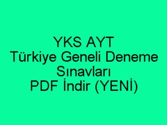 YKS AYT Türkiye Geneli Deneme Sınavları