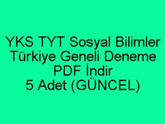 YKS TYT Sosyal Bilimler Türkiye Geneli Deneme PDF İndir