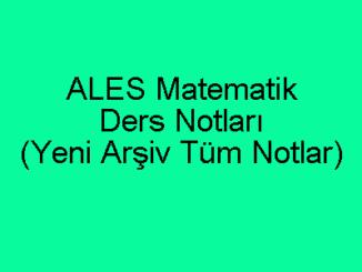 ALES Matematik Ders Notları
