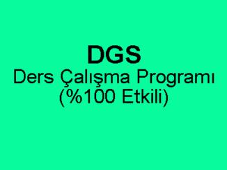 DGS Ders Çalışma Programı