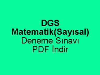DGS Matematik Çözümlü Deneme Sınavı PDF İndir