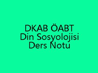 DKAB ÖABT Din Sosyolojisi Ders Notu