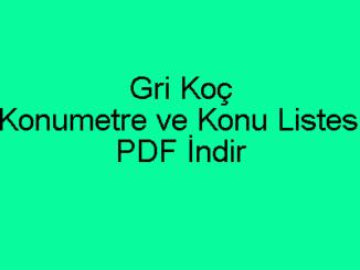 Gri Koç Konumetre ve Konu Listesi PDF İndir