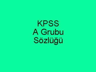 KPSS A Grubu Sözlüğü