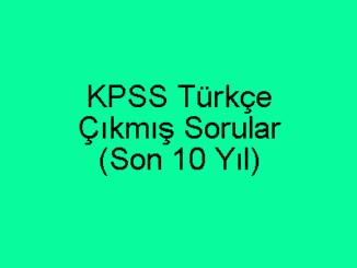 KPSS Çıkmış Türkçe Soruları