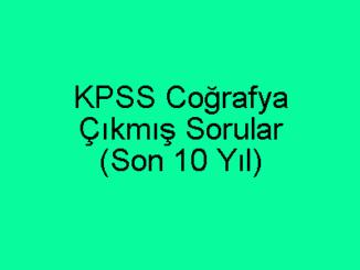 KPSS Coğrafya Çıkmış Soruları