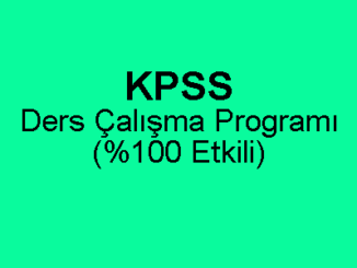 KPSS Ders Çalışma Programı PDF