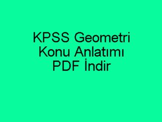 KPSS Geometri Konu Anlatımı PDF İndir