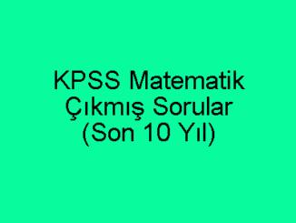 KPSS Matematik Çıkmış Sorular