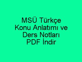 MSÜ Türkçe Konu Anlatımı ve Ders Notları PDF İndir