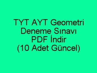 TYT AYT Geometri Deneme Sınavları PDF İndir