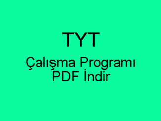 TYT Çalışma Programı PDF İndir