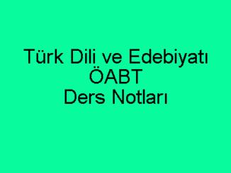 Türk Dili ve Edebiyatı ÖABT Ders Notları