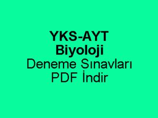 YKS AYT Biyoloji Deneme Sınavı PDF İndir
