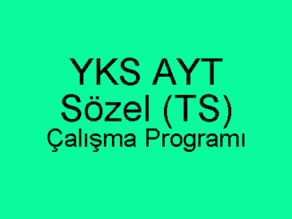 YKS AYT Sözel Çalışma Programı