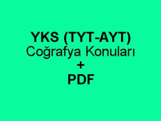YKS (TYT-AYT) Coğrafya Konuları