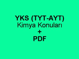 YKS (TYT-AYT) Kimya Konuları