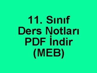 11. Sınıf Ders Notları PDF İndir