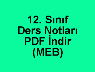 12. Sınıf Ders Notları PDF İndir