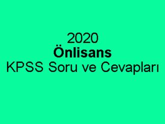 2020 Önlisans KPSS Soru ve Cevapları