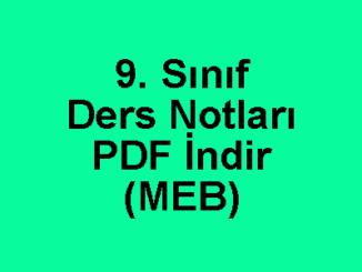 9. Sınıf Ders Notları PDF İndir